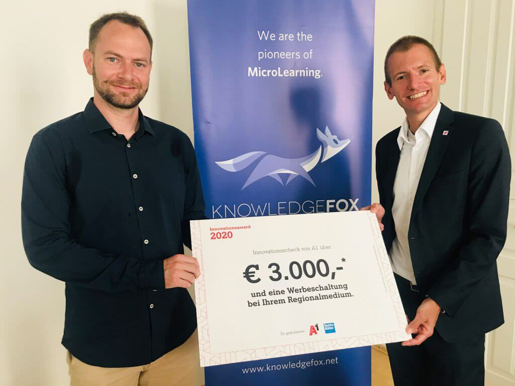 KnowledgeFox gewinnnt den A1 Innovationsaward 2020 für Microlearning Software